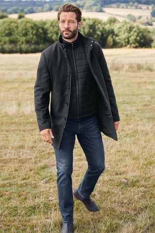 Charcoal Funnel Neck Coat With Removable Gilet