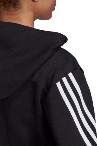 adidas 3 Stripe Cropped Hoodie
