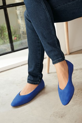 Cobalt Signature Forever Comfort® Leather Ballerina Shoes