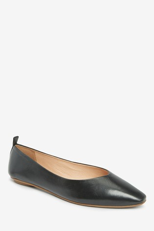 Black Signature Forever Comfort® Leather Ballerina Shoes