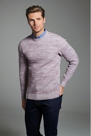 Pink Marl Mock Shirt Jumper