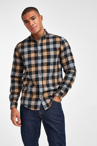 Tan Regular Fit Buffalo Check Brushed Flannel Long Sleeve Shirt