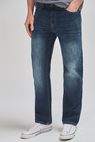 Dark Blue Straight Fit Jeans With Stretch