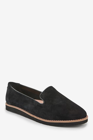 Black Leather EVA Slipper Loafers