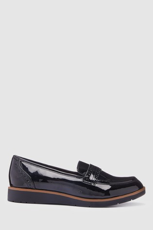 Black Patent Forever Comfort™ Brogue Detail Chunky Sole Loafers