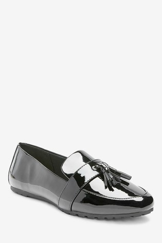 Black Regular/Wide Fit Cleated Tassel Loafers