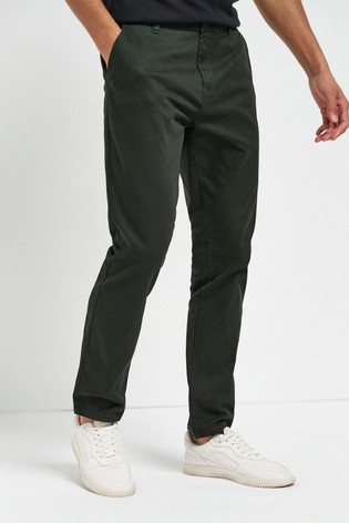 Dark Green Slim Fit Stretch Chinos