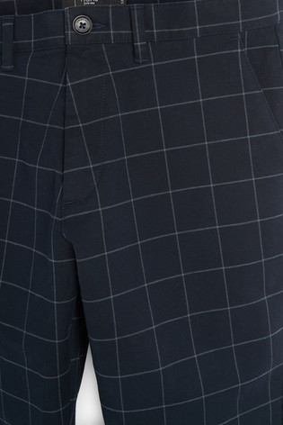Navy Tapered Slim Fit Check Chinos