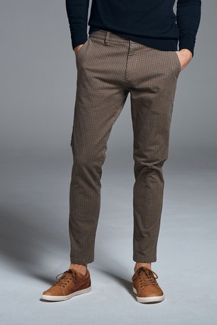 Brown Slim Fit Check Chinos
