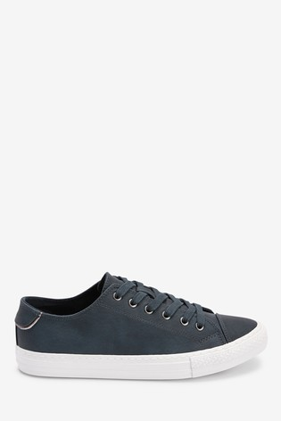 Navy Lace Up Baseball Trainers