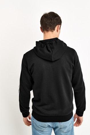 adidas Black Essentials 3 Stripe Zip Through Hoodie