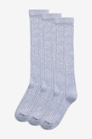 Grey 3 Pack Pointelle Knee High Socks