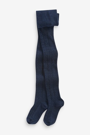 Navy Cable Tights