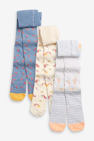 Blue 3 Pack Bunny/Carrot Tights