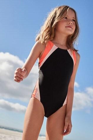 Black Panel Sports Swimsuit (3-16yrs)