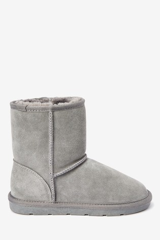 Grey Warm Lined Water Repellent Suede Pull-On Boots (Older)