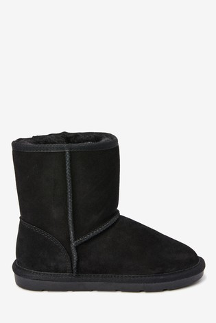 Black Warm Lined Water Repellent Suede Pull-On Boots (Older)