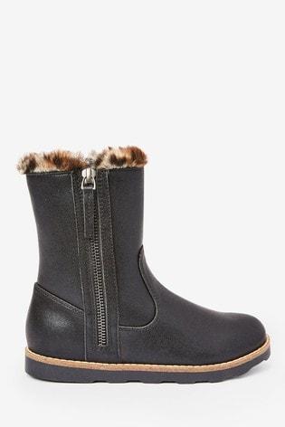 Black Warm Faux Fur Lined Boots (Older)