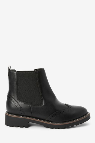 Black Forever Comfort® Brogue Chelsea Boots