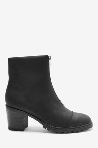 Black Forever Comfort® Cleated Front Zip Detail Boots