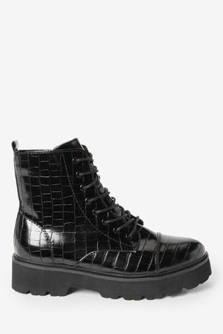 Black Forever Comfort® Croc Effect Chunky Lace-Up Boots