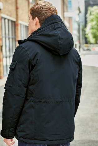 Navy Shower Resistant Jacket With Quilted Liner