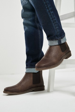 Brown Leather Waxy Finish Chelsea Boots