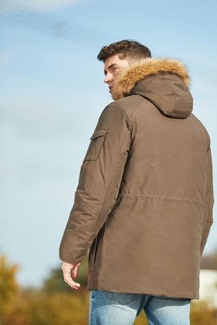 Khaki Shower Resistant Parka With Removable Faux Fur Trim