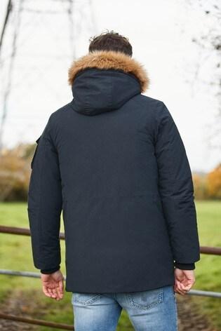 Navy Shower Resistant Parka With Removable Faux Fur Trim