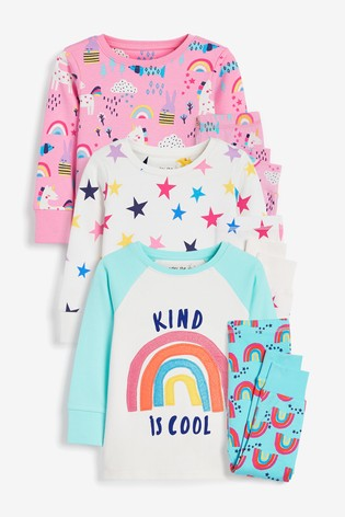 Pink/Turquoise 3 Pack Appliqué Rainbow/Unicorn Cotton Snuggle Pyjamas (9mths-8yrs)