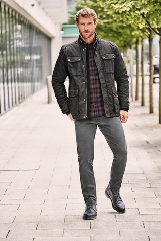 Black Four Pocket Biker Jacket With Heritage Check Lining