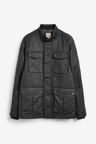Black Four Pocket Biker Jacket With Heritage Check Lining