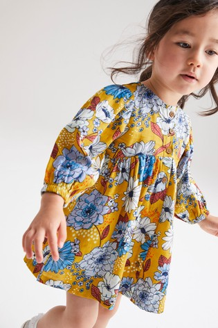 Ochre Floral Volume Sleeve Dress (3mths-7yrs)