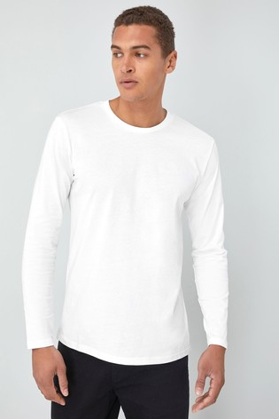 White Regular Fit Long Sleeve Crew Neck T-Shirt