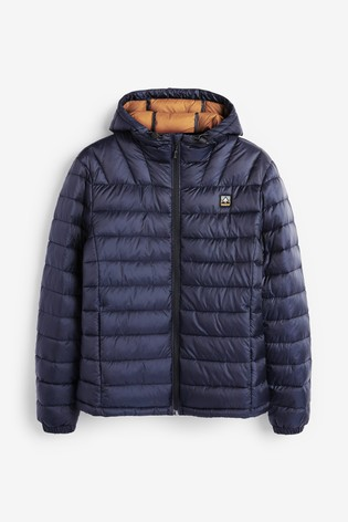 Navy Shower Resistant Hooded Puffer Jacket With DuPont Sorona® Insulation