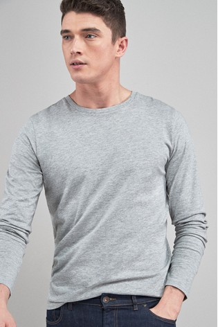 Grey Marl Regular Fit Long Sleeve Crew Neck T-Shirt