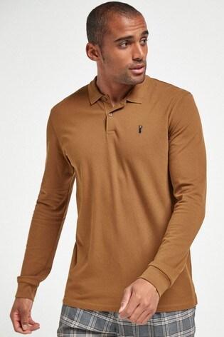 Tan Long Sleeve Pique Poloshirt