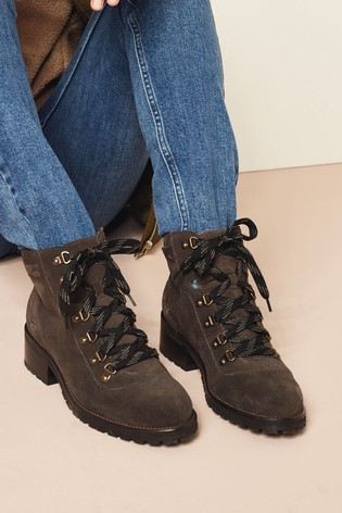 Grey Performance Water Repellent Clean Leather Hiker Boots