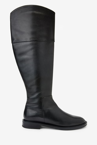 Black Signature Flat Riding Boots