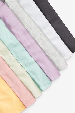 Multicolour 8 Pack Cotton Long Sleeve T-Shirts (3mths-7yrs)