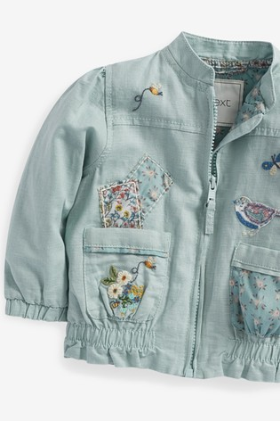 Green Embroidered Patch Bomber Jacket (3mths-7yrs)
