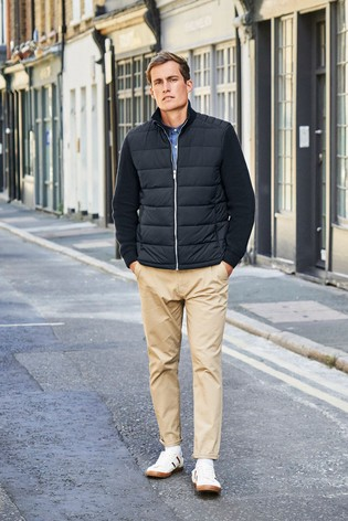 Navy Knitted Sleeve Quilted Jacket