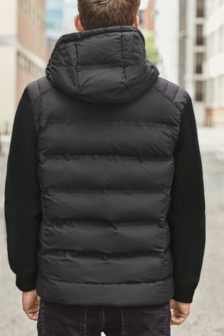 Black Knitted Sleeve Quilted Jacket