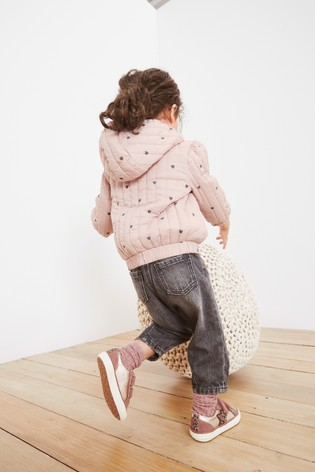 Pink Heart Print Quilted Jacket (3mths-7yrs)