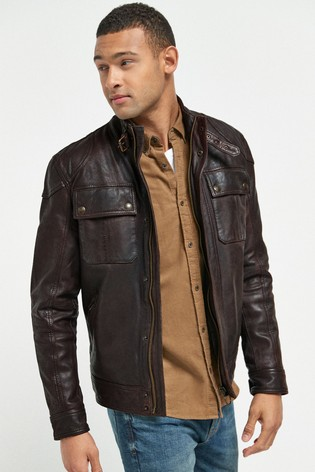 Brown Signature Leather Biker Jacket