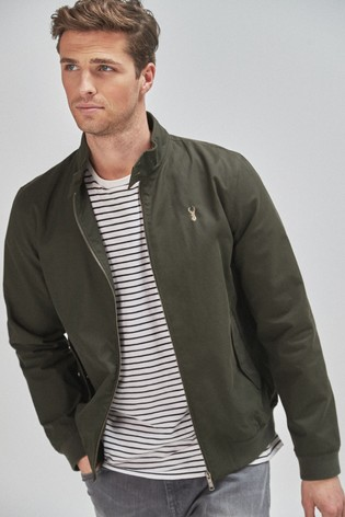 Khaki Shower Resistant Harrington Jacket With Check Lining