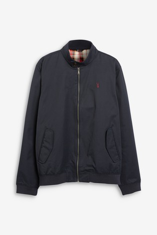 Navy Shower Resistant Harrington Jacket With Check Lining