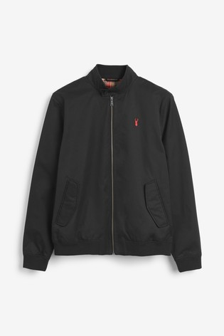 Black Shower Resistant Harrington Jacket With Check Lining
