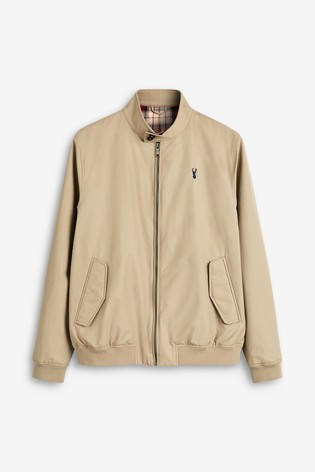 Stone Shower Resistant Harrington Jacket With Check Lining