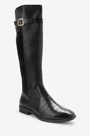 Black Forever Comfort® Rider Knee High Material Mix Boots